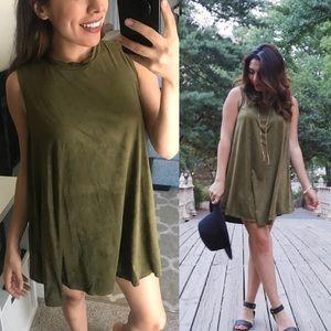 Dresses & Skirts - Olive suede dress